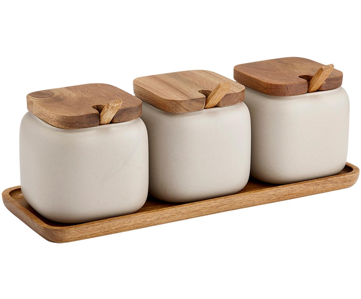 Opbergpotten set Essentials van porselein en acaciahout, 7-delig, Porselein, acaciahout, Zandkleurig, acaciahoutkleurig, 28 x 10 cm