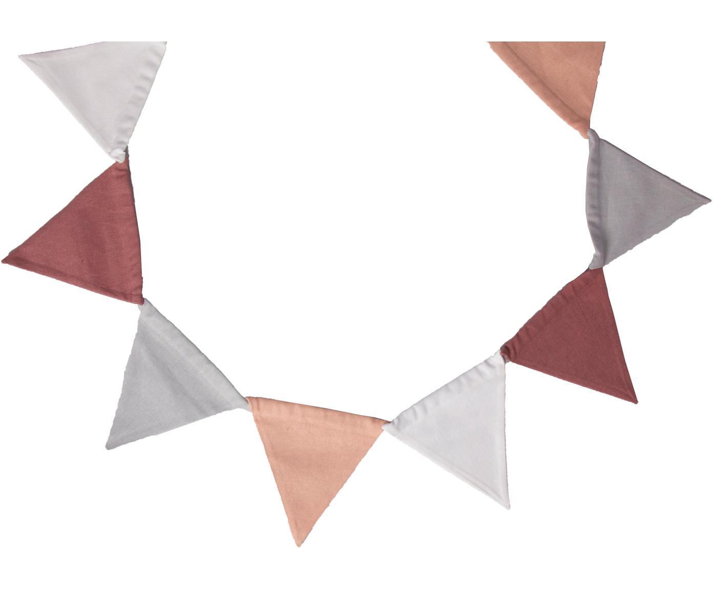 Girlande Vimply, Baumwolle, Rosa, Grau, Weiß, Dunkelrot, L 250 cm