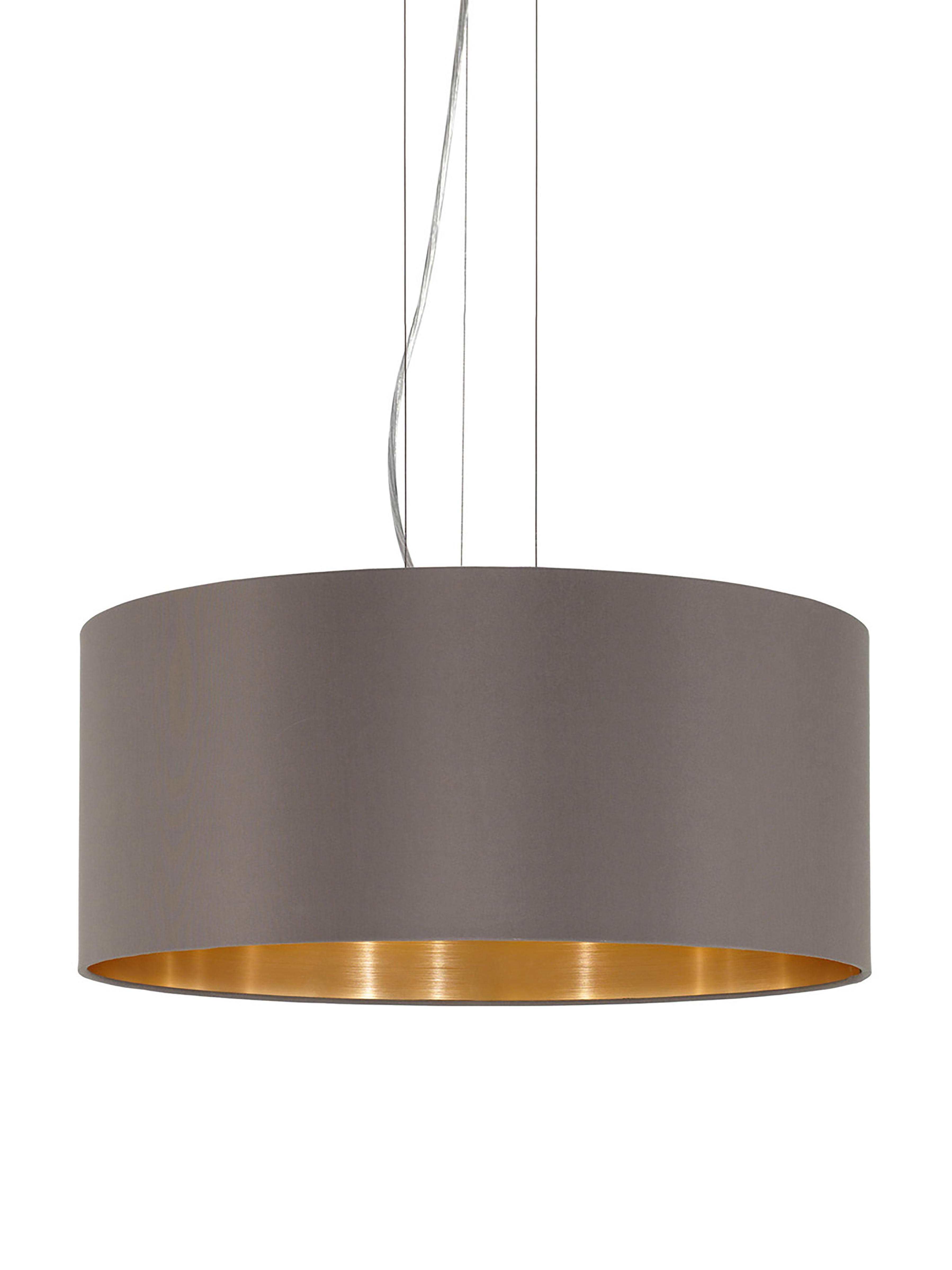 Pendelleuchte Jamie, Baldachin: Metall, vernickelt, Silberfarben,Grau-Beige, Ø 53 x H 24 cm