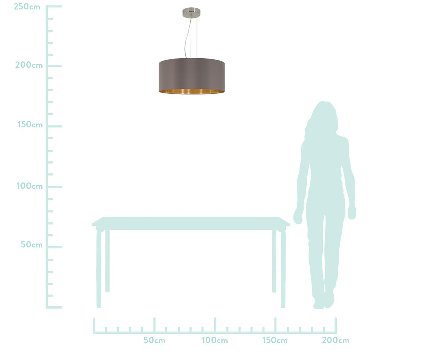 Lampada a sospensione Jamie, Baldacchino: metallo nichelato, Argento, grigio-beige, Ø 53 x Alt. 24 cm