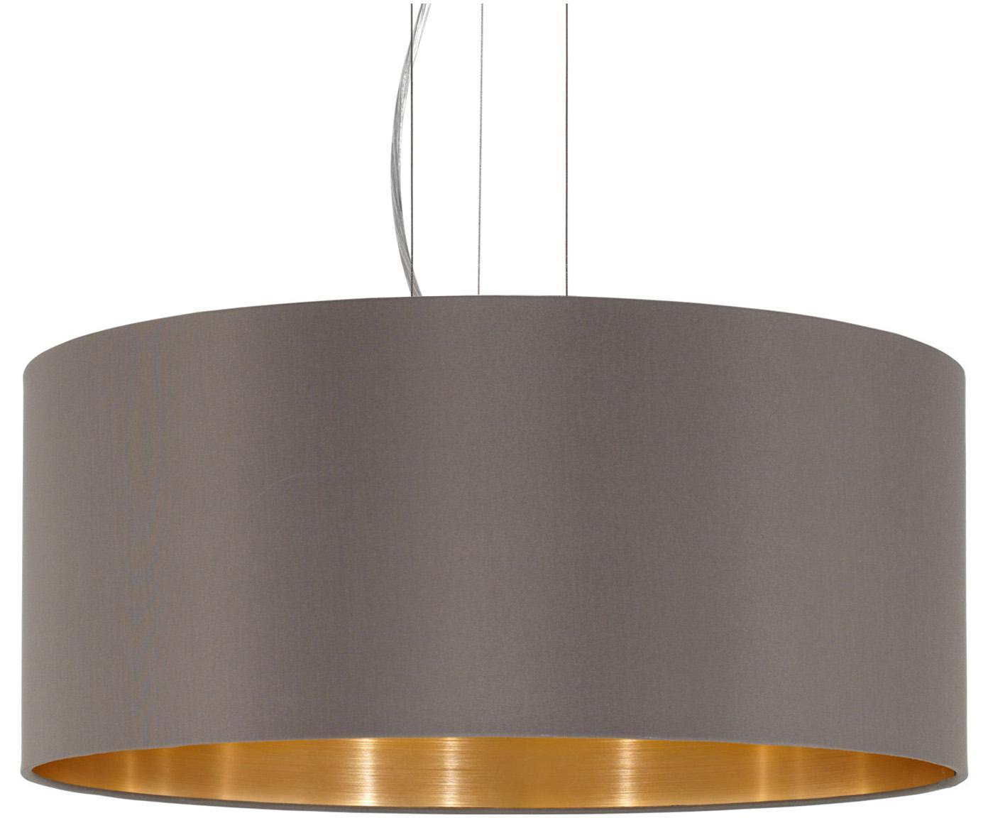 Lámpara de techo Jamie, Anclaje: metal niquelado, Cable: plástico, Plateado, gris beige, Ø 53 x Al 24 cm