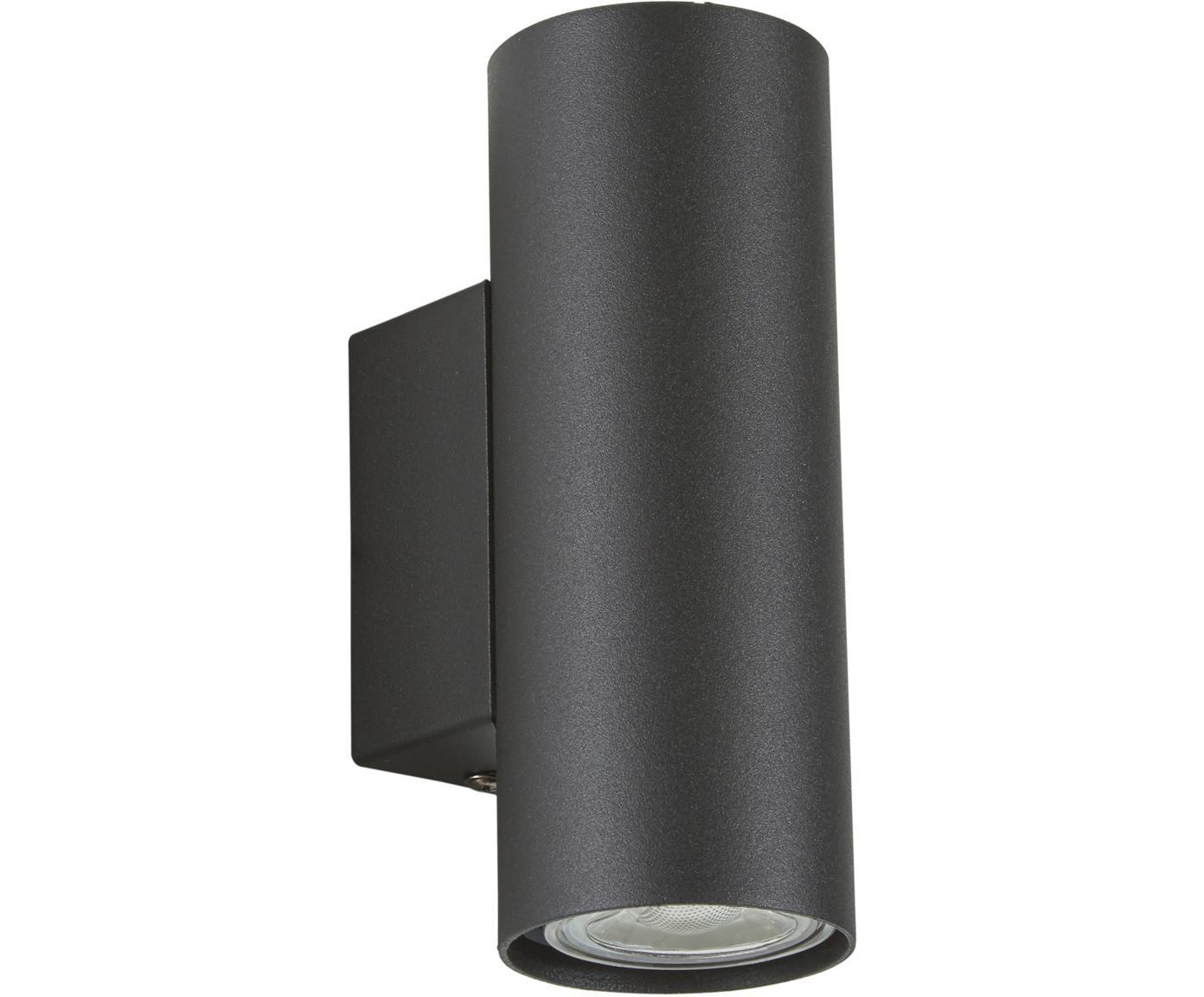 LED wandlamp Paul, Gepoedercoat metaal, Zwart, 6 x 9 cm