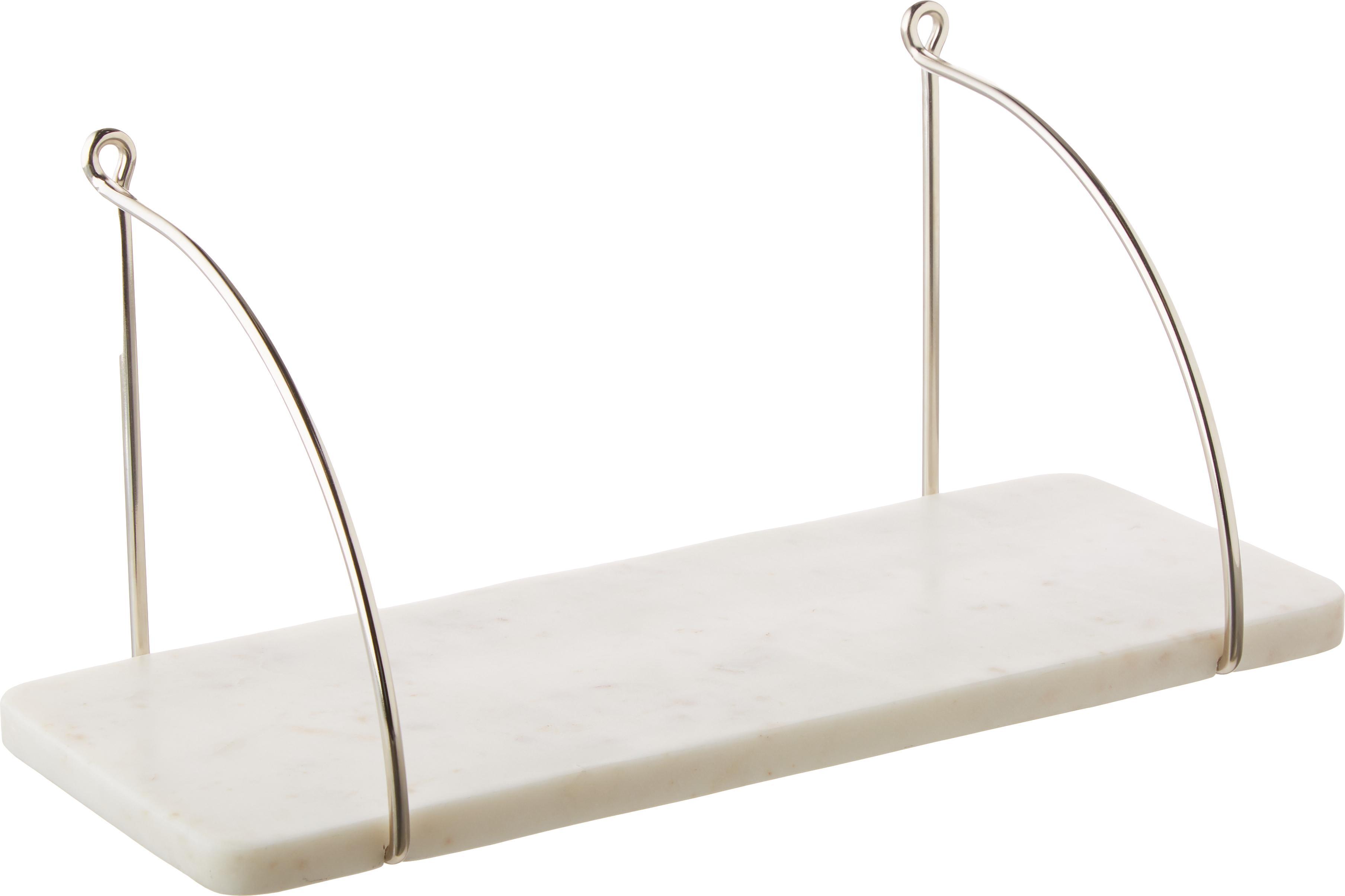 Mensola a muro in marmo Porter, Scaffale: marmo, Montaggio a parete: acciaio inossidabile  libreria: bianco marmorizzato, Larg. 40 x Alt. 18 cm