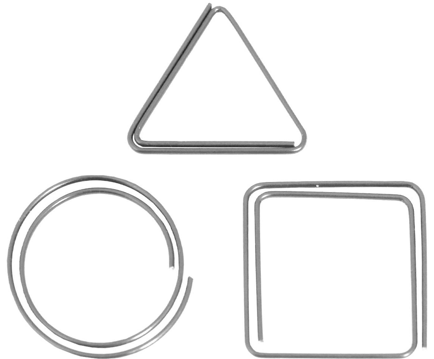 Bureauklemmenset Geometria, 9-delig, Gelakt metaal, Metaalkleurig, 3 x 3 cm