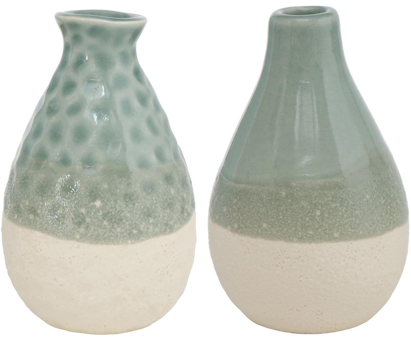 Kleines Vasen-Set Carney aus Steingut, 2-tlg., Steingut, Grün, Beige, Ø 7 x H 11 cm