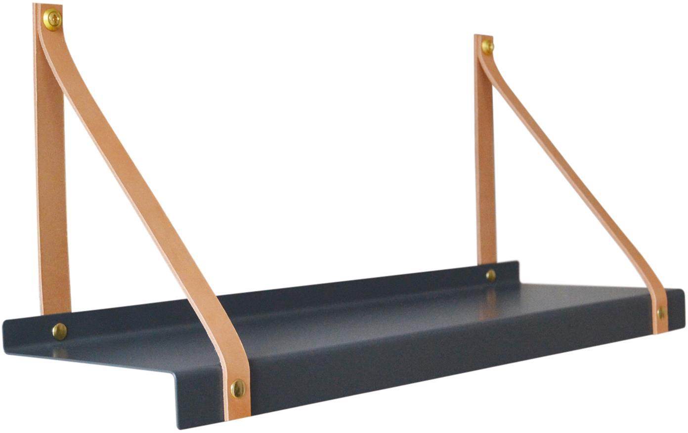 Mensola a muro con cinturini in pelle Shelfie, Mensola: metallo verniciato a polv, Cinturino: pelle, Grigio, marrone, Larg. 50 x Prof. 23 cm