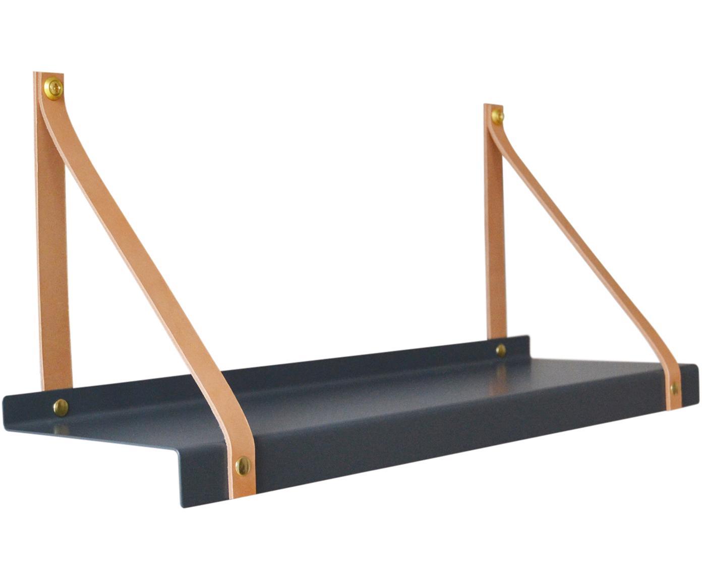 Wandplank Shelfie, Plank: gepoedercoat metaal, Riemen: leer, Grijs, bruin, B 50 x D 15 cm
