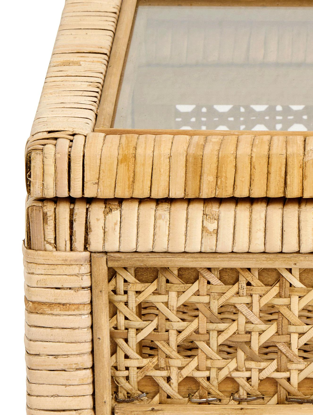 Aufbewahrungsbox Granell, Box: Bambus, Deckel: Glas, Bambus, 37 x 11 cm