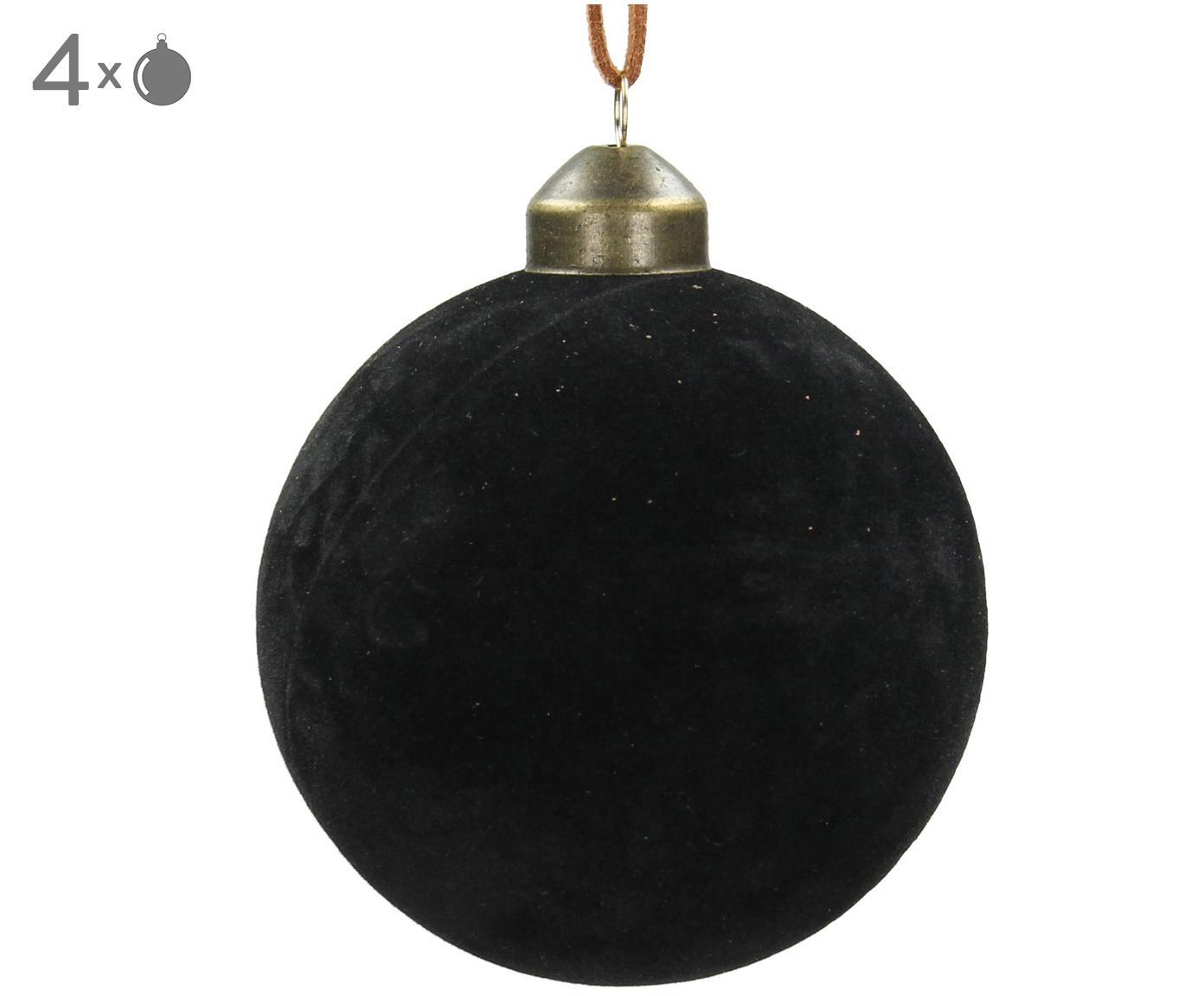 Weihnachtskugeln Velvet, 4 Stück, Glas, Polyestersamt, Schwarz, Ø 8 cm