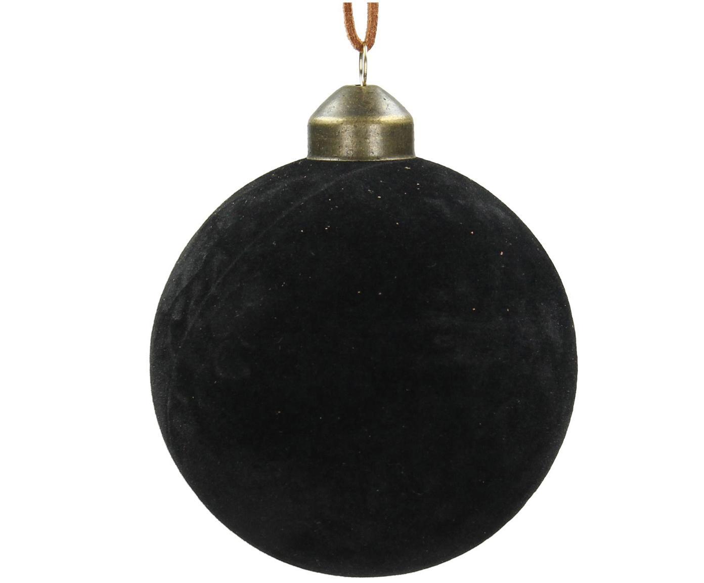 Kerstballen Velvet, 4 stuks, Glas, polyesterfluweel, Zwart, Ø 8 cm