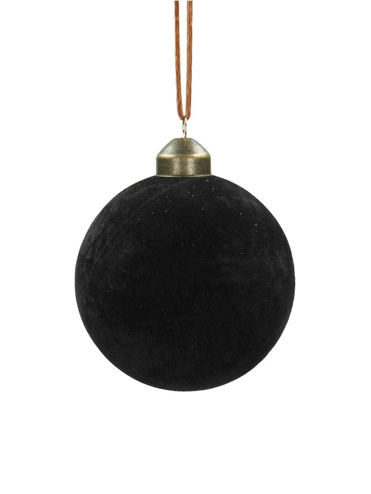 Bolas de Navidad Velvet, Ø8cm, 4uds., Vidrio, terciopelo de poliéster, Negro, Ø 8 cm