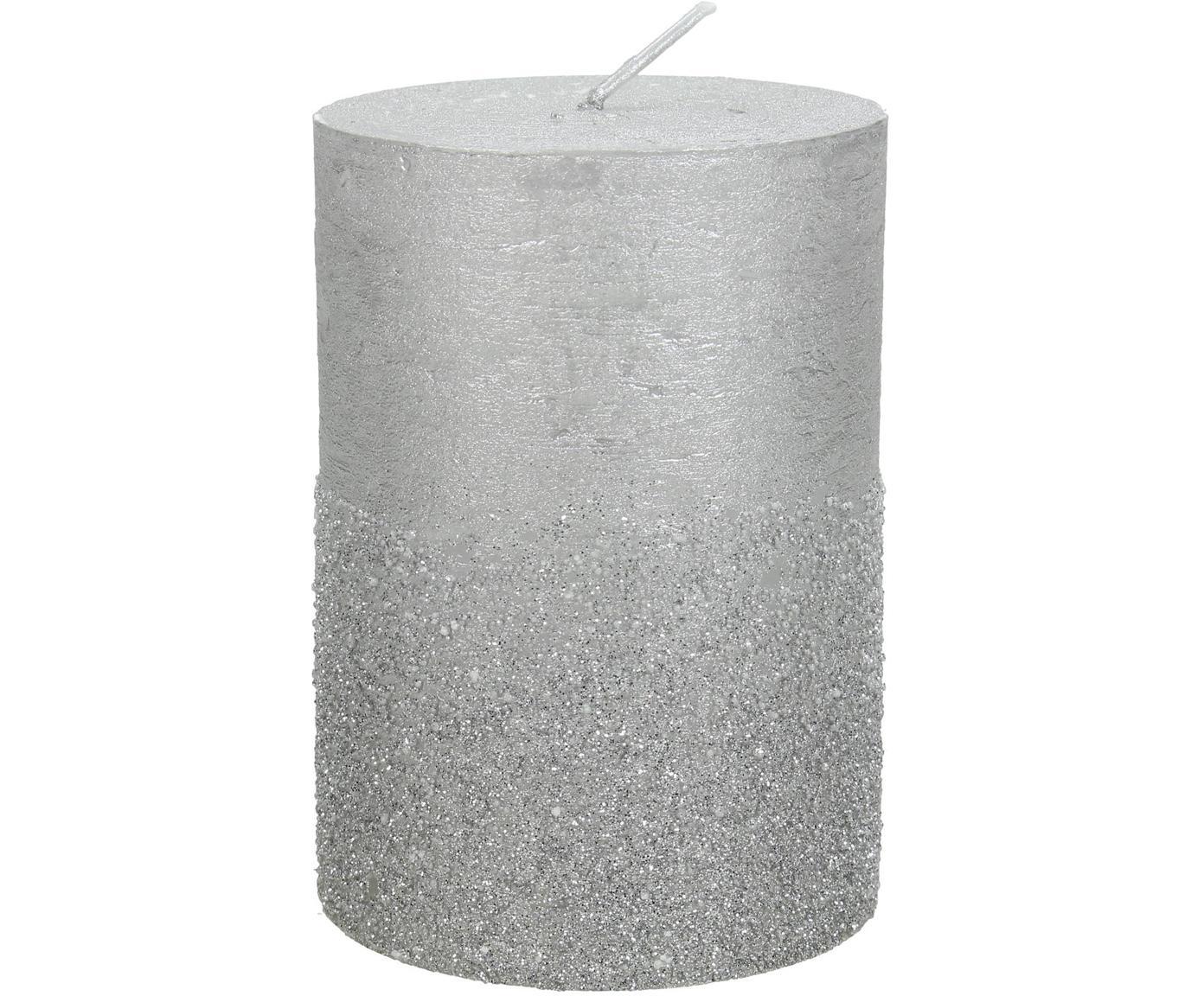 Candela pilastro Glitters, Cera, Argentato, Ø 7 x Alt. 10 cm