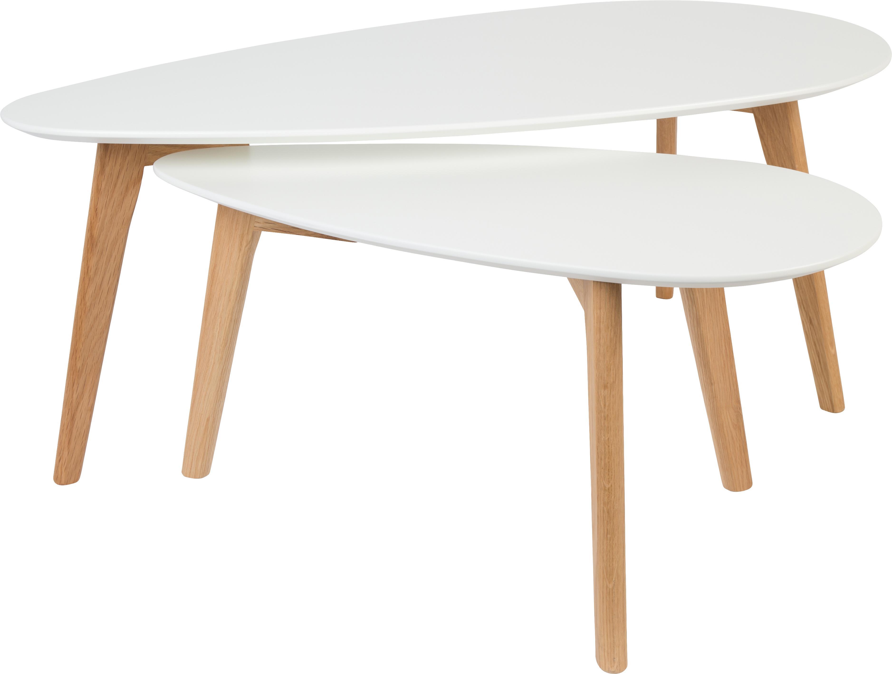 Set de mesas de centro Nordic, 2uds., estilo escandinavo, Tablero: fibras de densidad media, Patas: madera de roble maciza, Blanco, roble, Tamaños diferentes