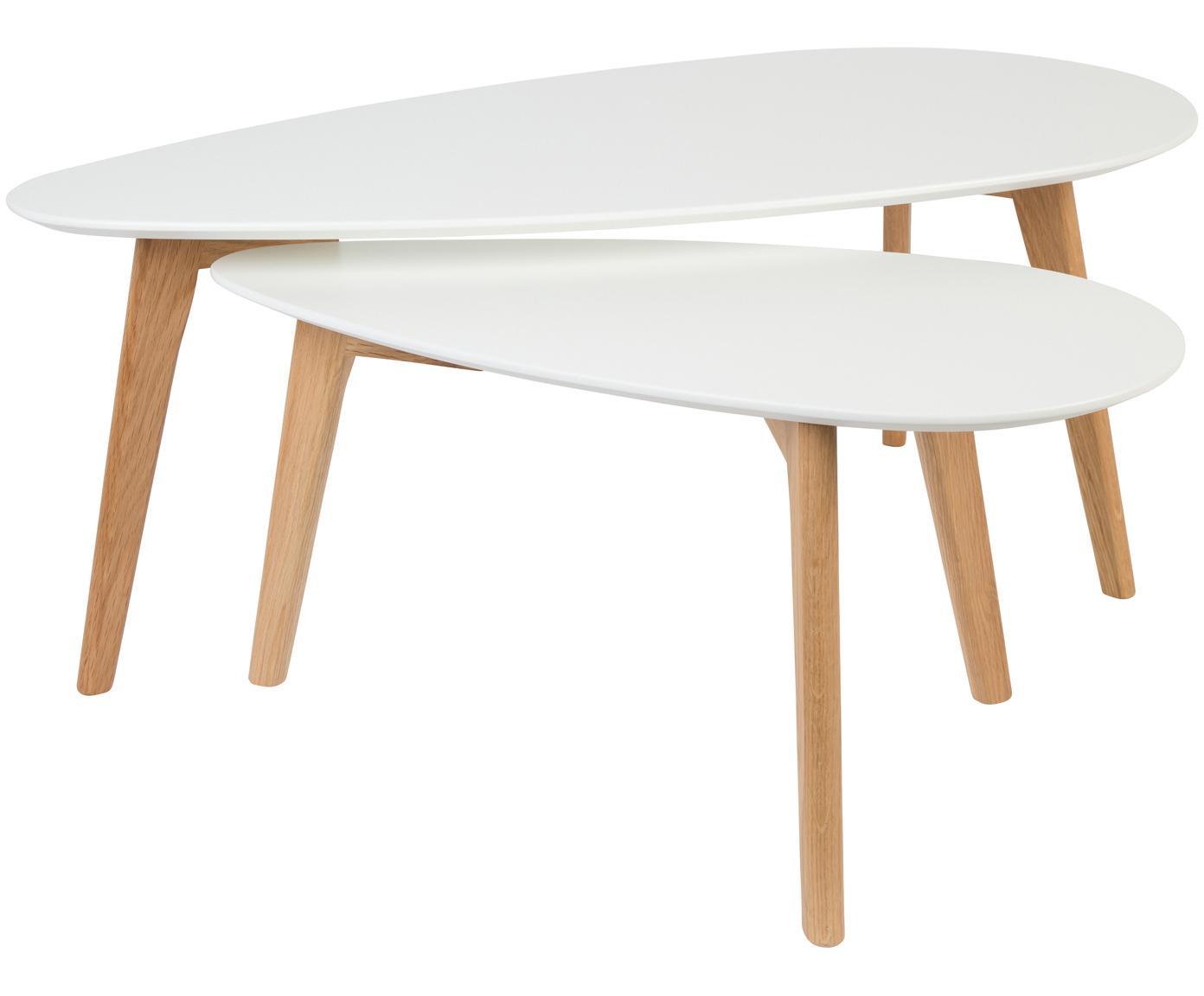Salontafelset Ina, 2-delig, Tafelblad: MDF, gelakt, Poten: eikenhout, massief, Tafelblad: wit. poten: eikenhoutkleurig, Verschillende formaten