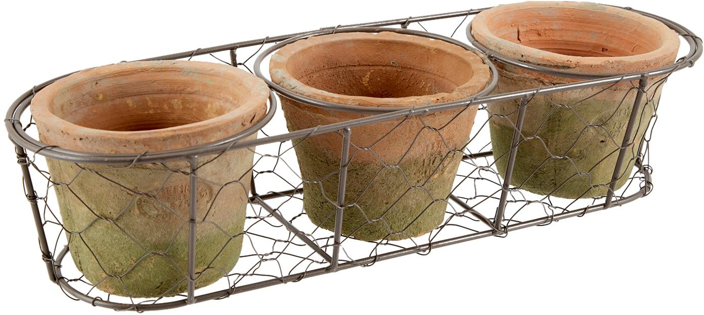 Pflanztopf-Set Daria aus Terrakotta, 4-tlg., Übertopf: Terrakotta, Korb: Metall, Terrakotta, Braun, 37 x 9 cm