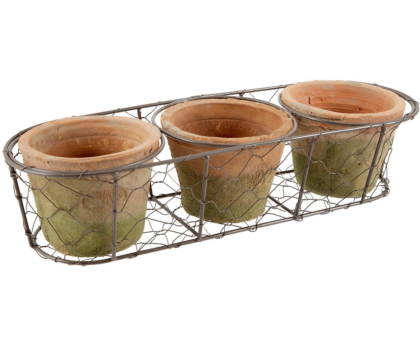 Set de macetas Daria, 5pzas., Cesta: metal, Terracota, marrón, An 37x Al 9 cm