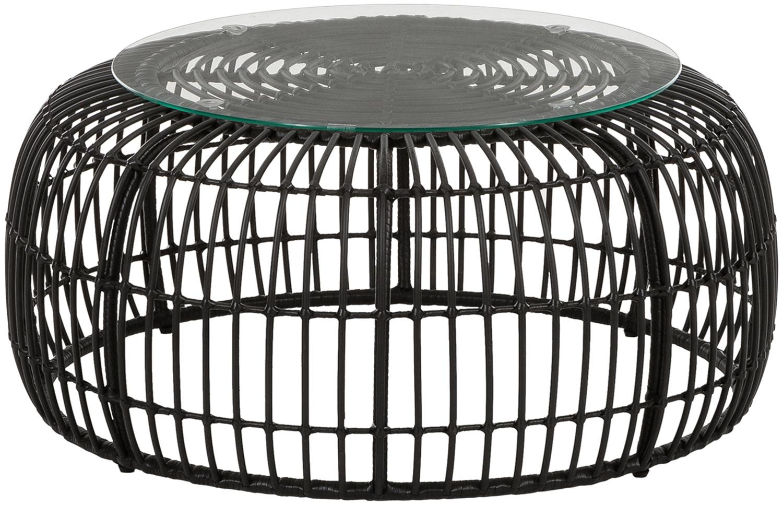 Tavolino da salotto con intreccio Beliz, Piano d'appoggio: vetro, spessore, Struttura: intreccio in polietilene, Nero, Ø 85 x Alt. 42 cm
