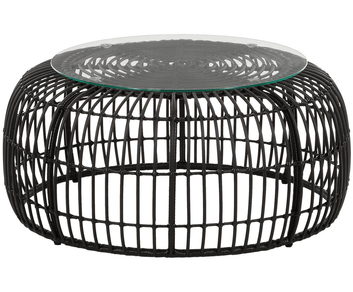 Garten-Couchtisch Costa mit Polyrattan, Tischplatte: Glas, Stärke, Gestell: Polyethylen-Geflecht, Schwarz, Ø 85 x H 42 cm