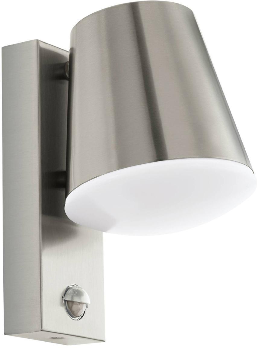Outdoor wandlamp Caldiero met bewegingssensor, Binnenkant: kunststof, Edelstaalkleurig, 14 x 24 cm