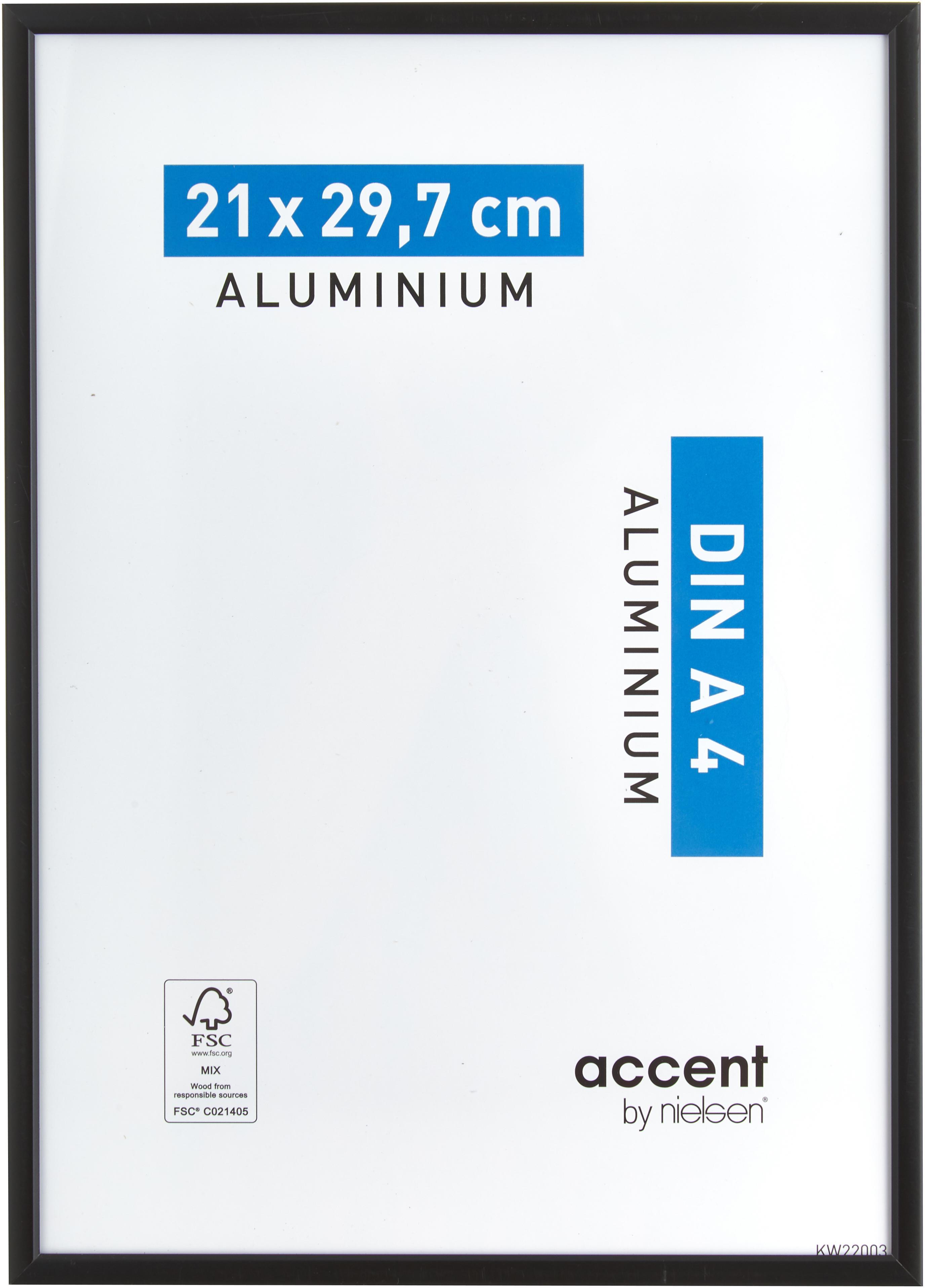 Cornice nera opaca Accent, Cornice: alluminio, rivestito, Retro: Pannello di fibra a media, Nero, 21 x 30 cm