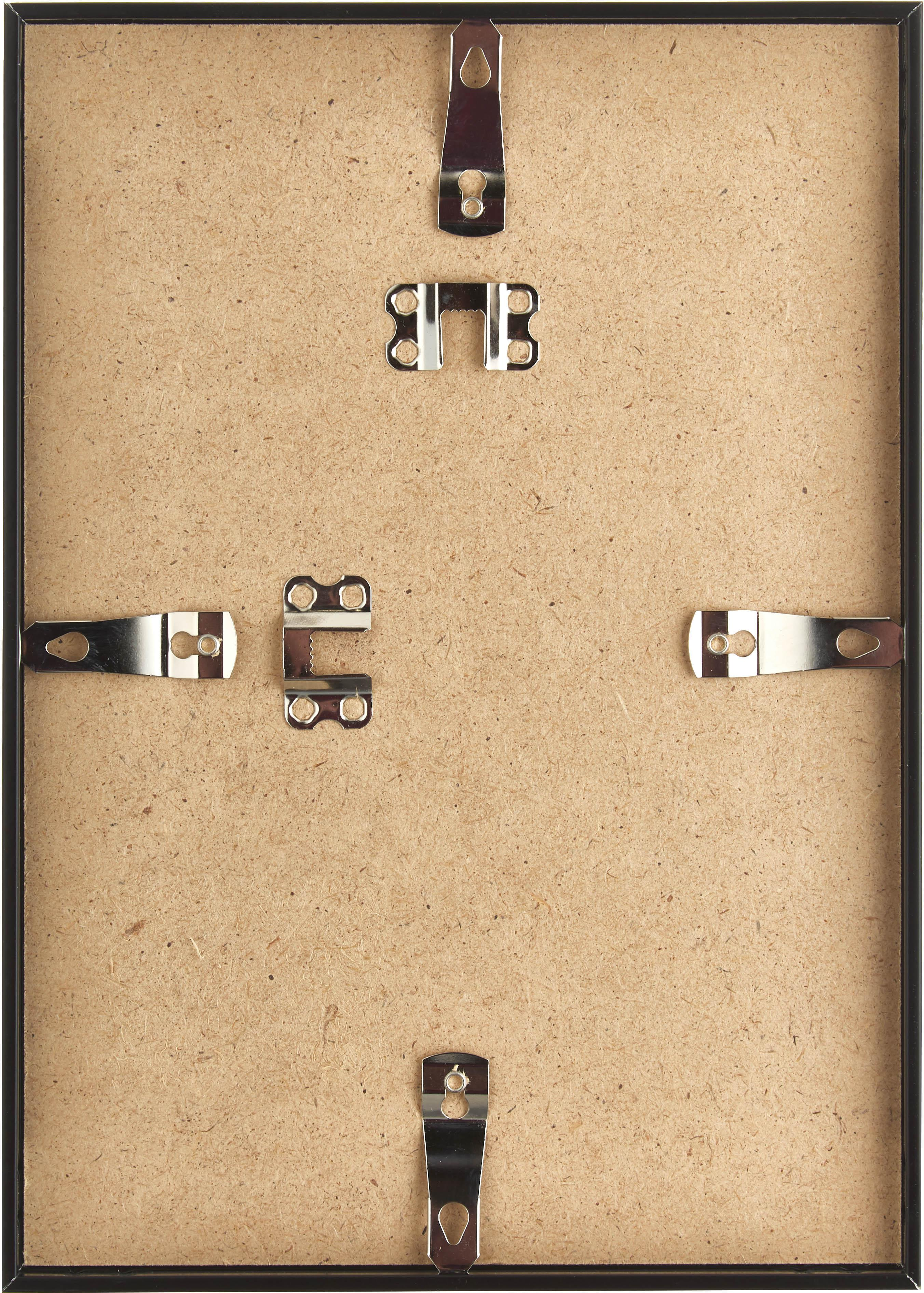 Bilderrahmen Accent, Rahmen: Aluminium, beschichtet, Front: Glas, Rückseite: Mitteldichte Holzfaserpla, Schwarz, 21 x 30 cm