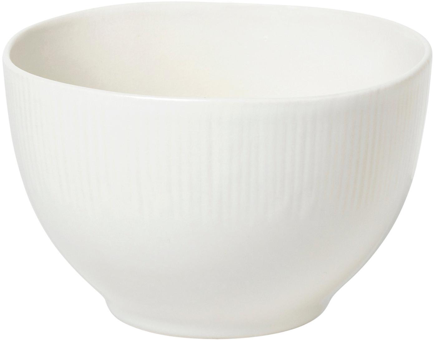Handgemachte Schälchen Sandvig mit leichtem Rillenrelief, 4 Stück, Porzellan, durchgefärbt, Gebrochenes Weiß, Ø 14 x H 8 cm