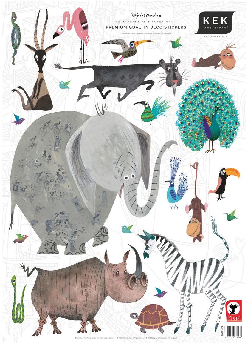 Komplet naklejek ściennych Animals, 23 elem., Samoprzylepna folia winylowa, matowa, Wielobarwny, S 42 x W 59 cm