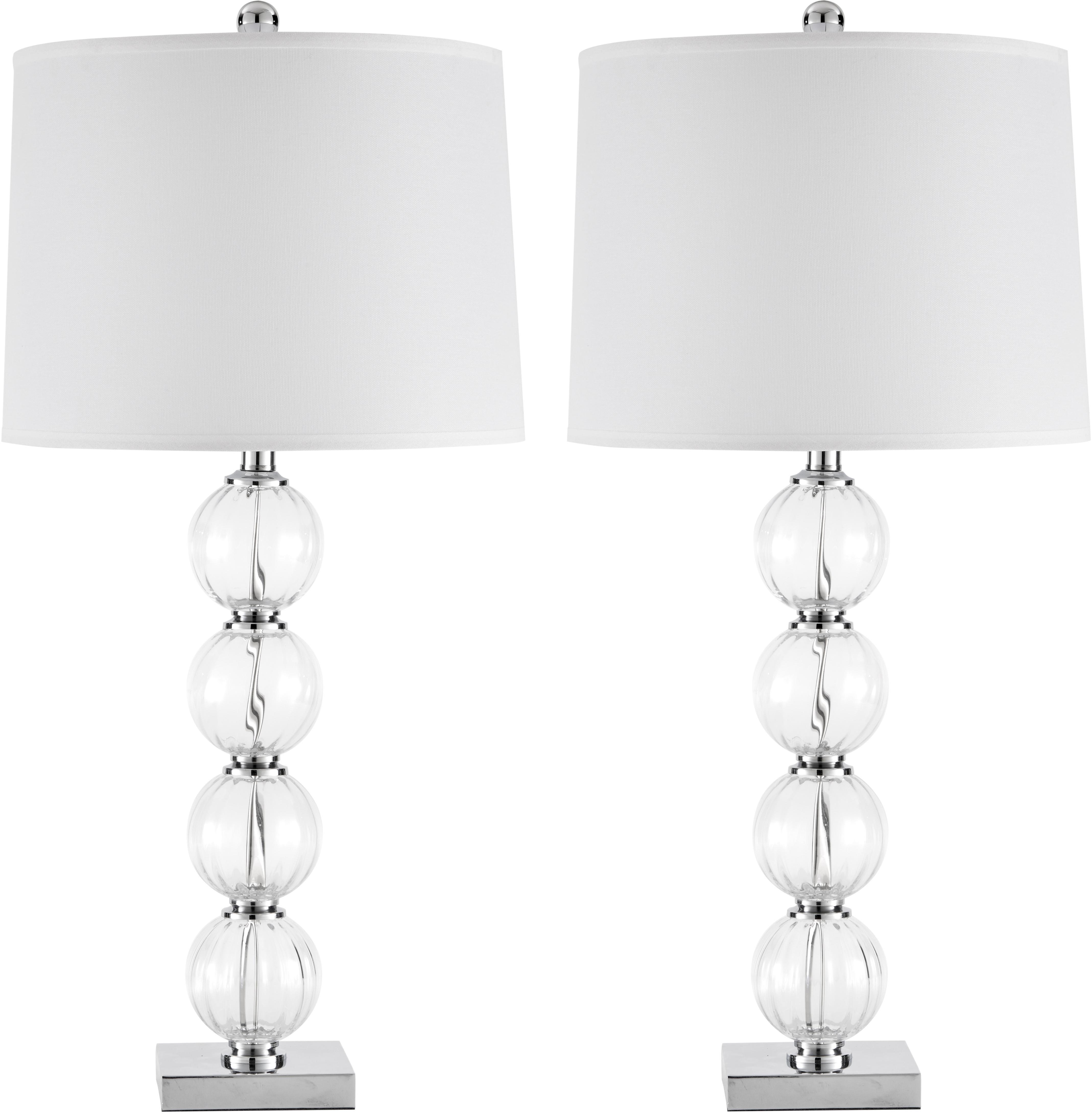 Große Tischlampen Luisa, 2 Stück, Lampenschirm: Polyester, Lampenfuß: Glas, Sockel: Metall, Lampenschirm: Weiß<br>Lampenfuß: Transparent, Ø 38 x H 76 cm