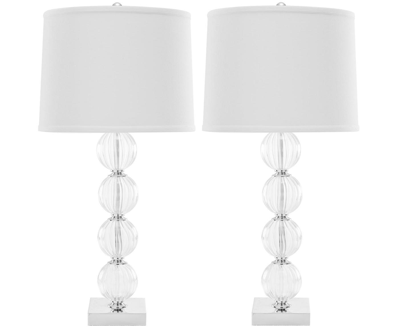 Grote tafellampen Luisa, 2 stuks, Lampenkap: 100% polyester, Lampvoet: glas, metaal, Lampenkap: wit. Lampvoet: transparant, Ø 38 x H 76 cm