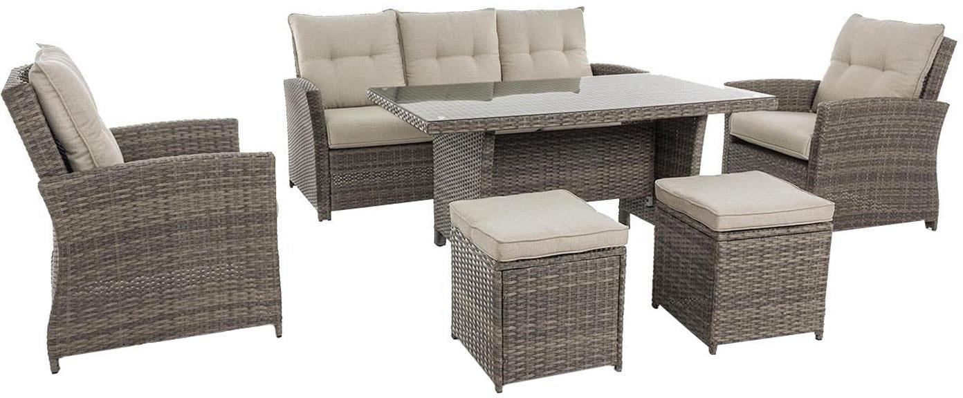 Set lounge de exterior Aden, 6uds., Estructura: acero con pintura en polv, Marrón, beige, Set de diferentes tamaños
