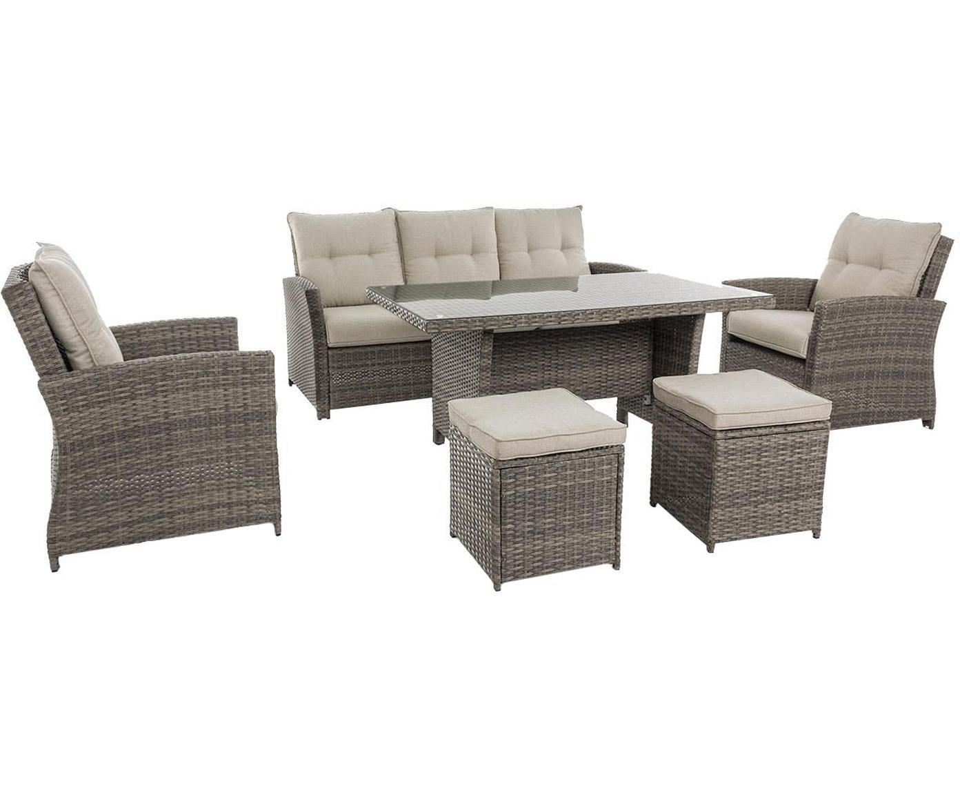 Set lounge de exterior Aden, 6uds., Estructura: acero con pintura en polv, Marrón, beige, Tamaños diferentes
