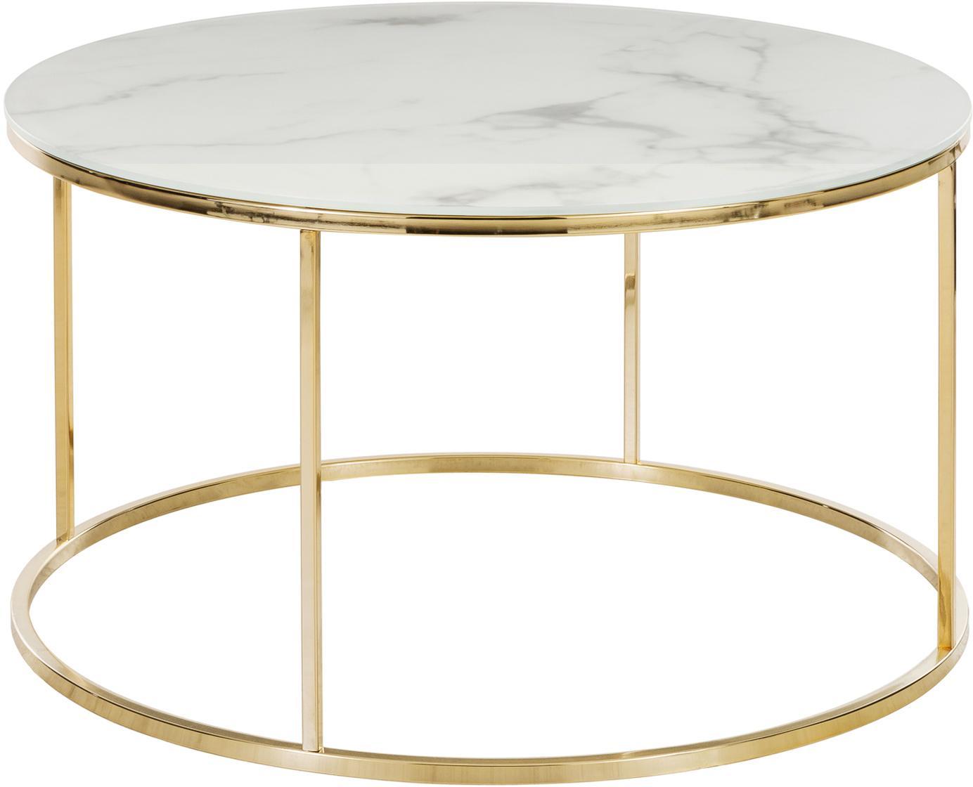 Tavolino da salotto con piano in vetro Antigua, Piano d'appoggio: vetro opaco stampato, Struttura: acciaio, ottonato, Bianco-grigio marmorizzato, dorato, Ø 80 x Alt. 45 cm