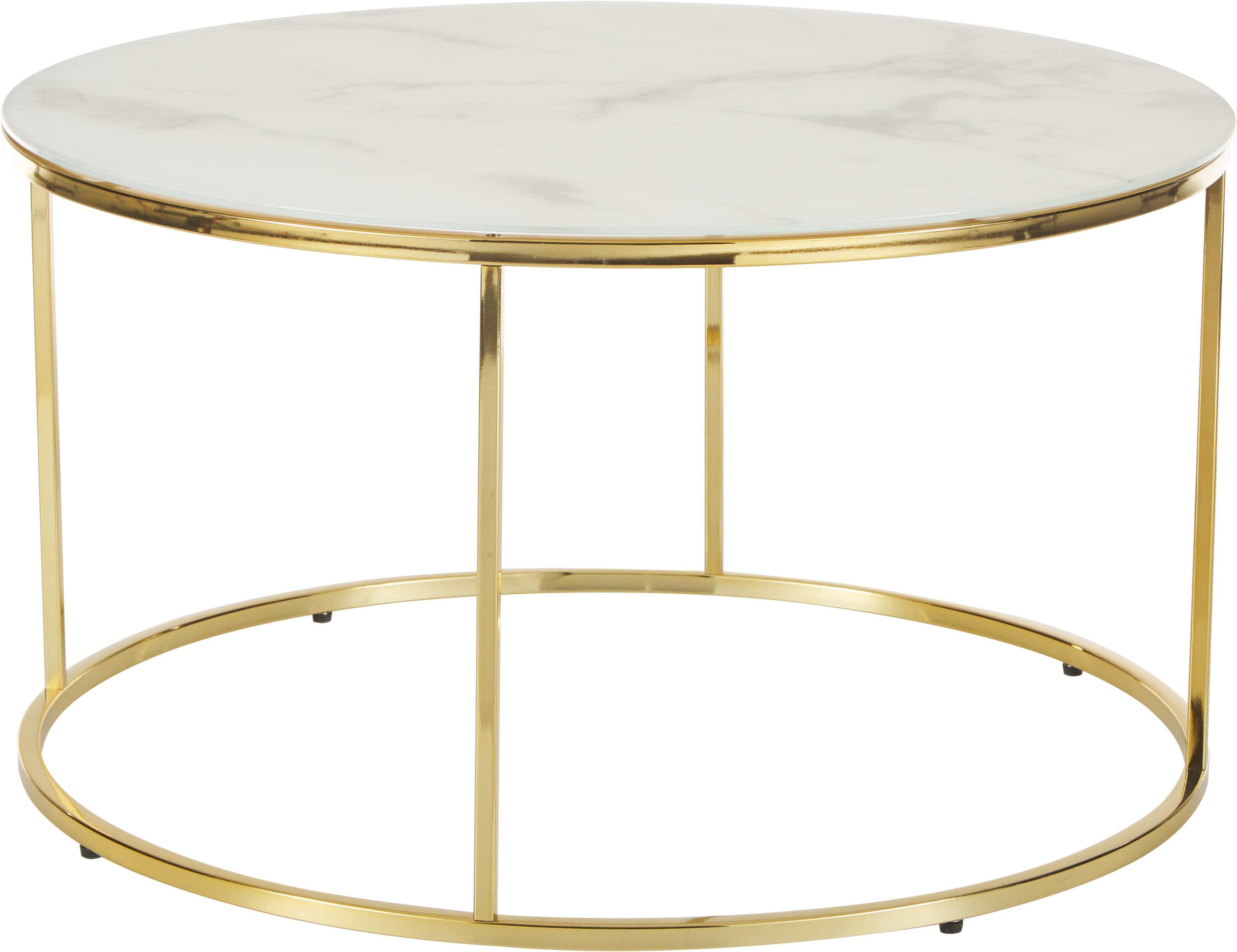 Mesa de centro Antigua, tablero de cristal en aspecto mármol, Tablero: vidrio estampado con aspe, Estructura: acero, latón, Blanco grisaceo veteado, dorado, Ø 80 x Al 45 cm
