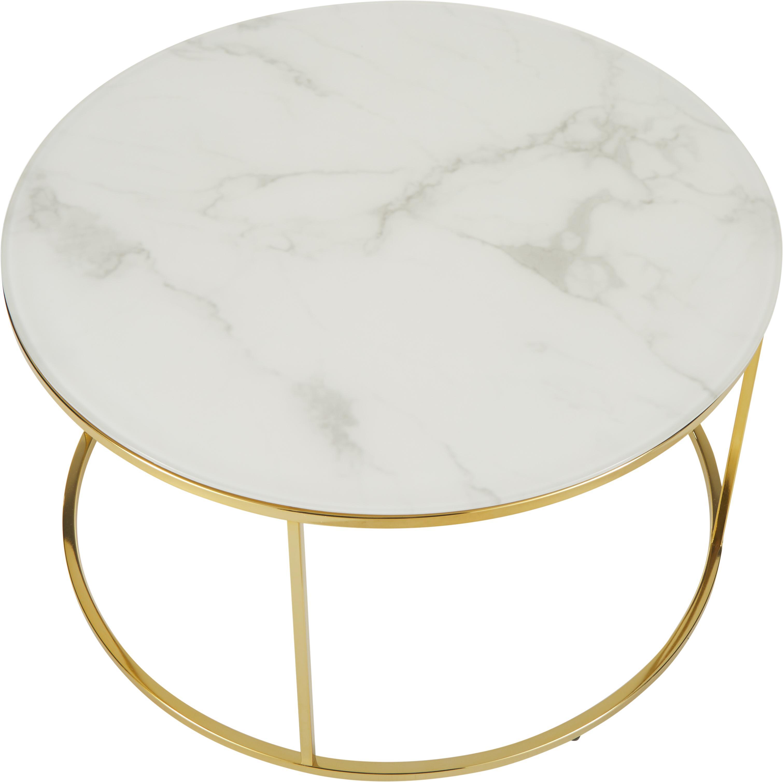 Couchtisch Antigua mit marmorierter Glasplatte, Tischplatte: Glas, matt bedruckt, Gestell: Stahl, vermessingt, Weiss-grau marmoriert, Goldfarben, Ø 80 x H 45 cm