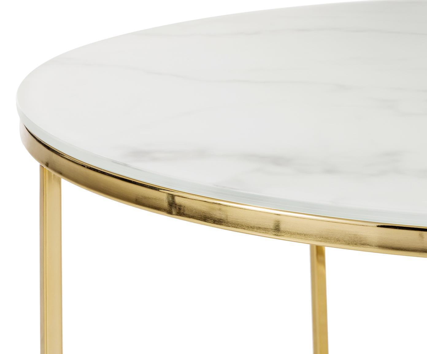 Stolik kawowy ze szklanym blatem Antigua, Blat: szkło, matowy nadruk, Stelaż: stal, mosiądzowany, Białoszary marmurowy, odcienie złotego, Ø 80 x W 45 cm