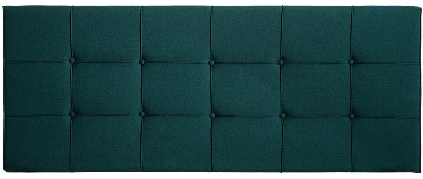 Cabecero Simi, Tapizado: poliéster, lino, Estructura: madera de eucalipto, made, Verde, An 160 x Al 64 cm