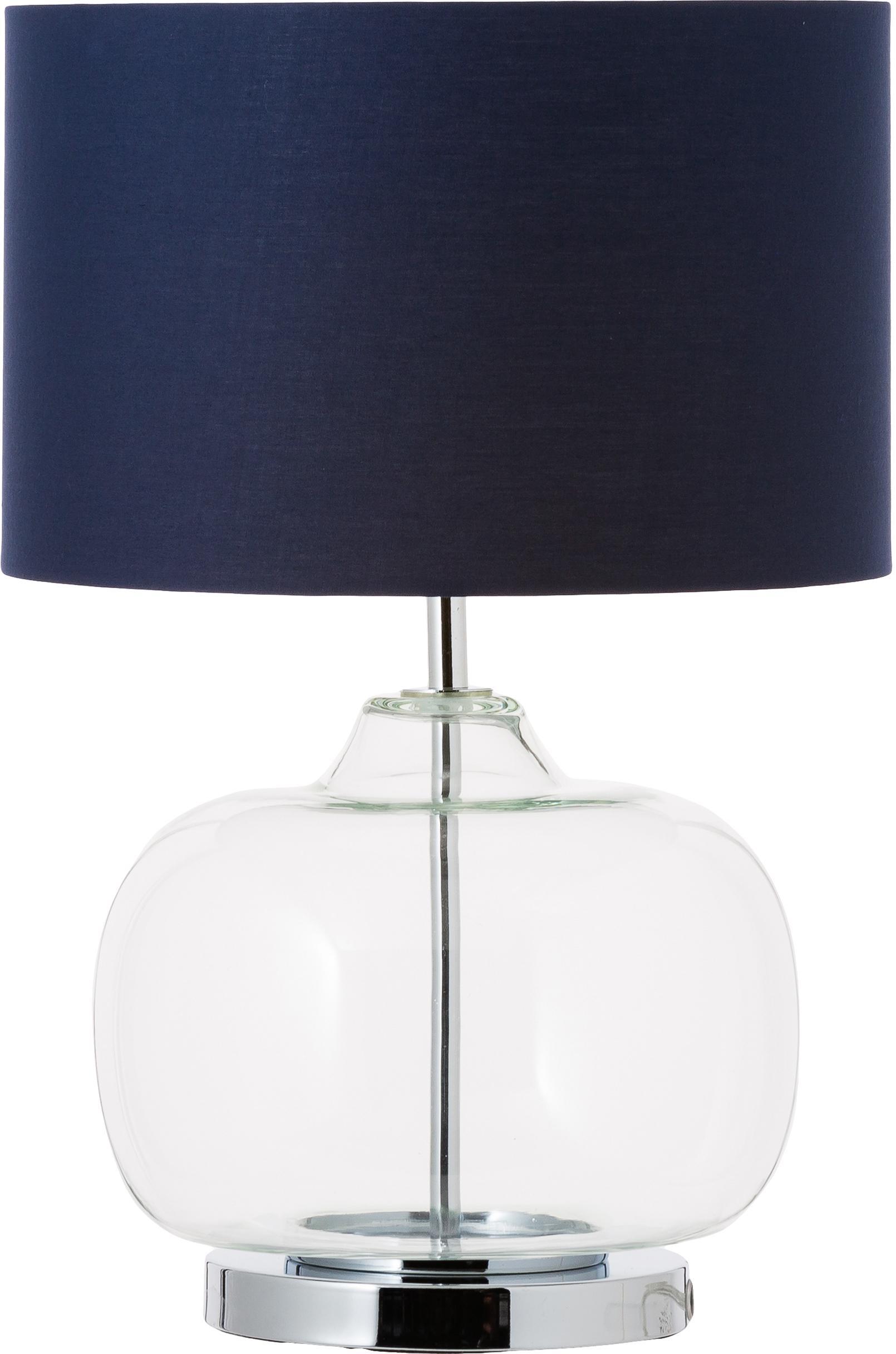 Tafellamp Amelia van glas en katoen, Lampvoet: glas, Lampenkap: katoen, Voetstuk: verchroomd metaal, Donkerblauw, Ø 28 x H 41 cm