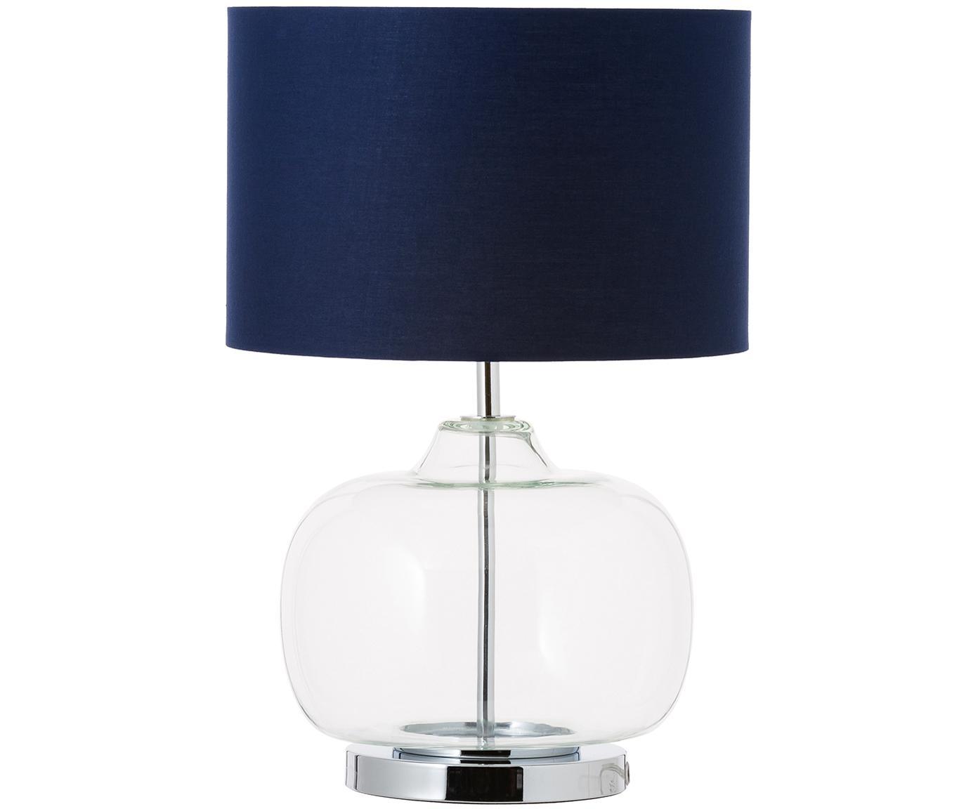 Tischleuchte Amelia aus Glas und Baumwolle, Lampenfuß: Glas, Lampenschirm: Baumwolle, Dunkelblau, ∅ 28 x H 41 cm