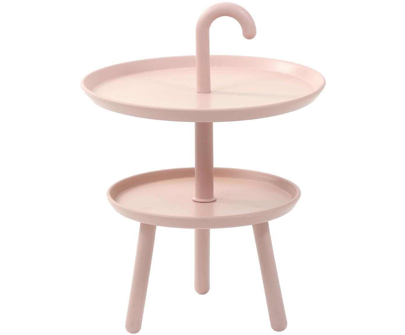 Mesa auxiliar pequeña de plástico Rodi, Polipropileno, Rosa, Ø 42 x Al 56 cm