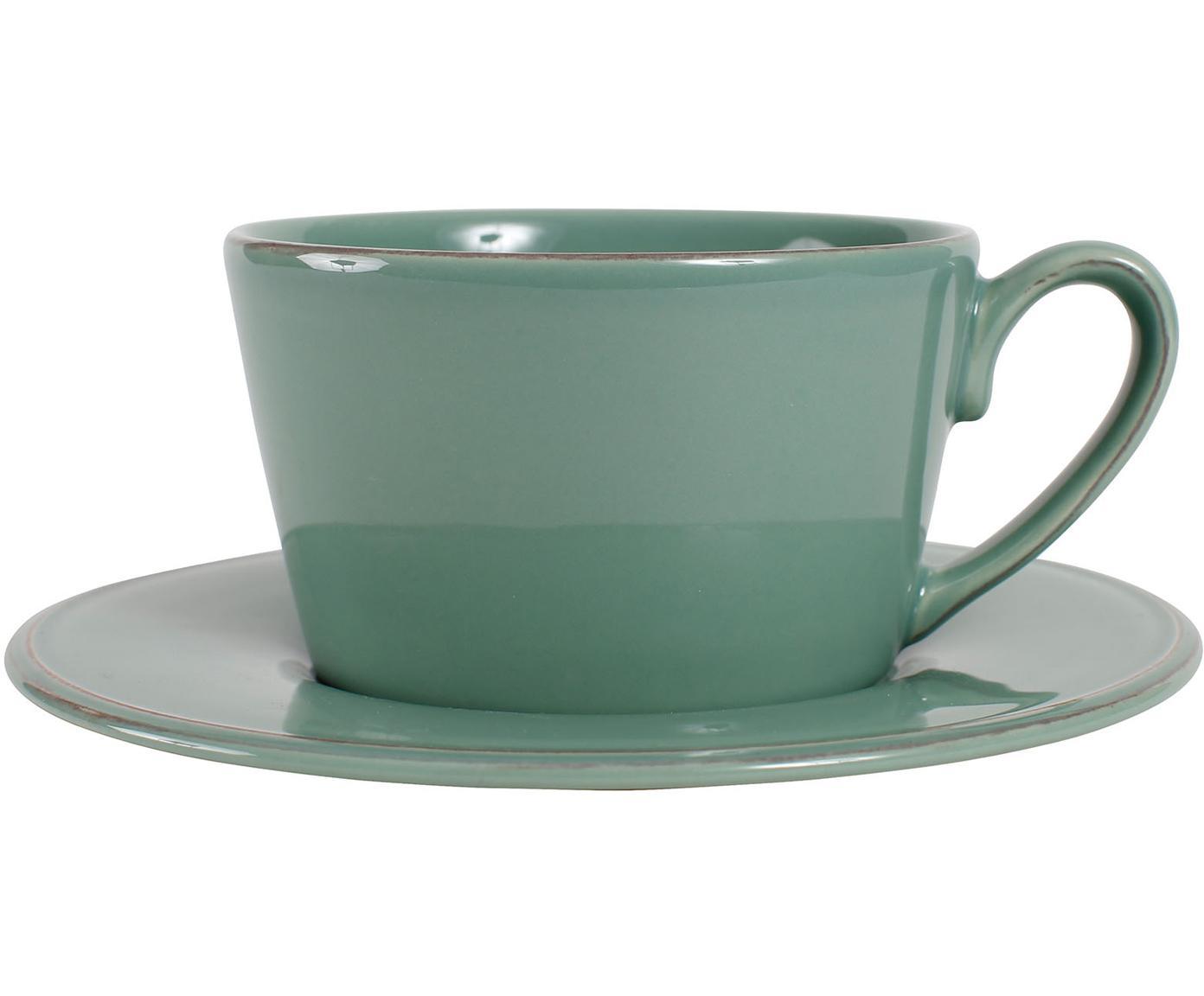 Taza de té con platito Constance, estilo rústico, Gres, Verde, Ø 19 x Al 8 cm