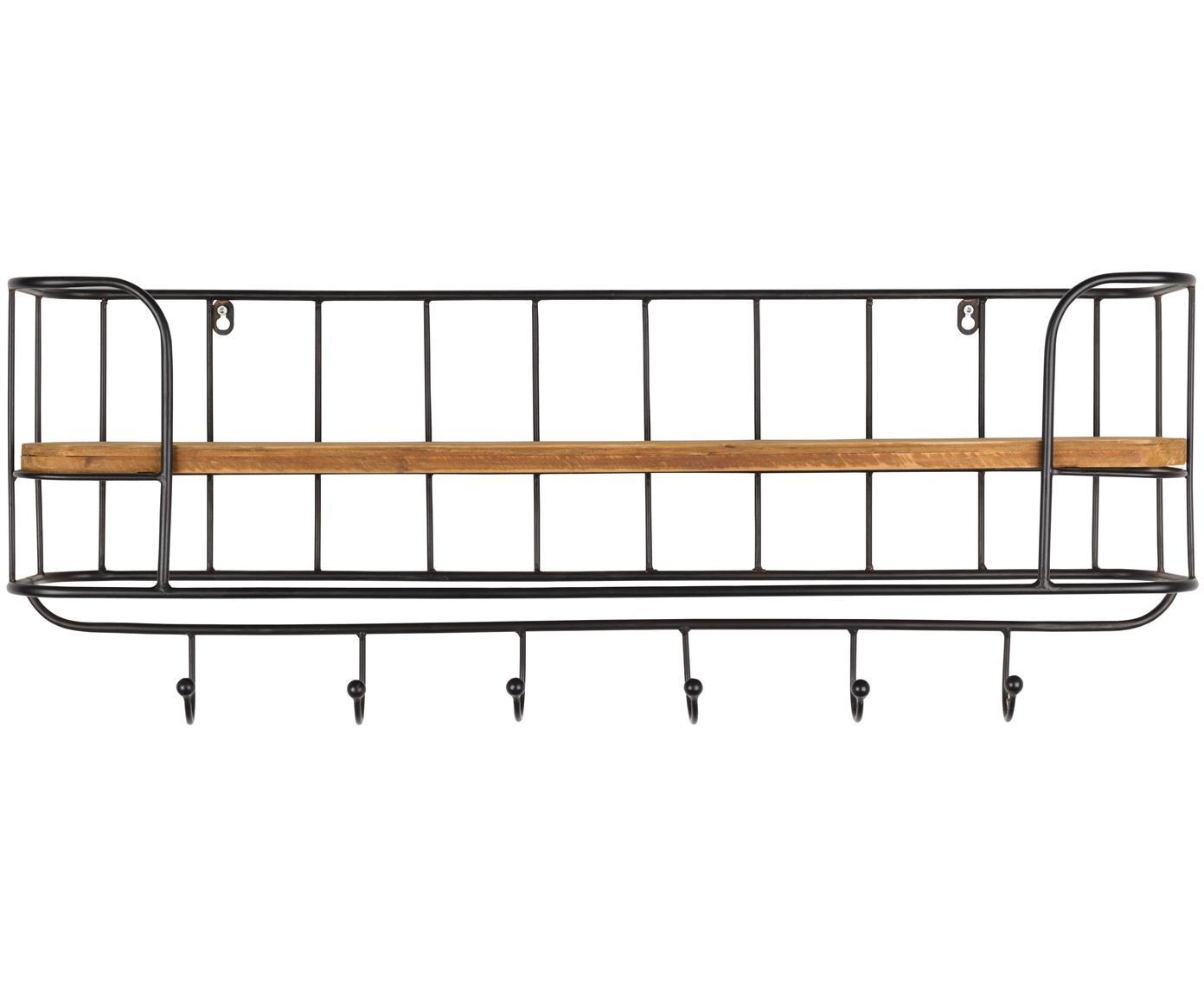 Wandrek Stack met haken, Frame: gelakt metaal, Plank: onbehandeld hout, Frame: zwart. Plank: bruin, 85 x 32 cm