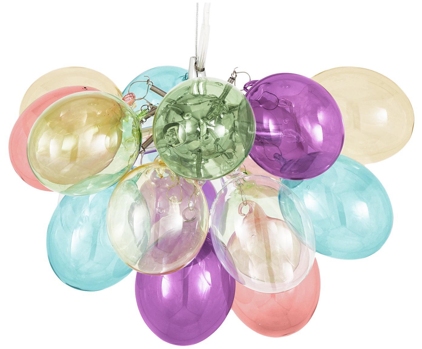 Lampada a sospensione con sfere di vetro Gross, Baldacchino: metallo rivestito, Multicolore, Ø 30 x Alt. 20 cm