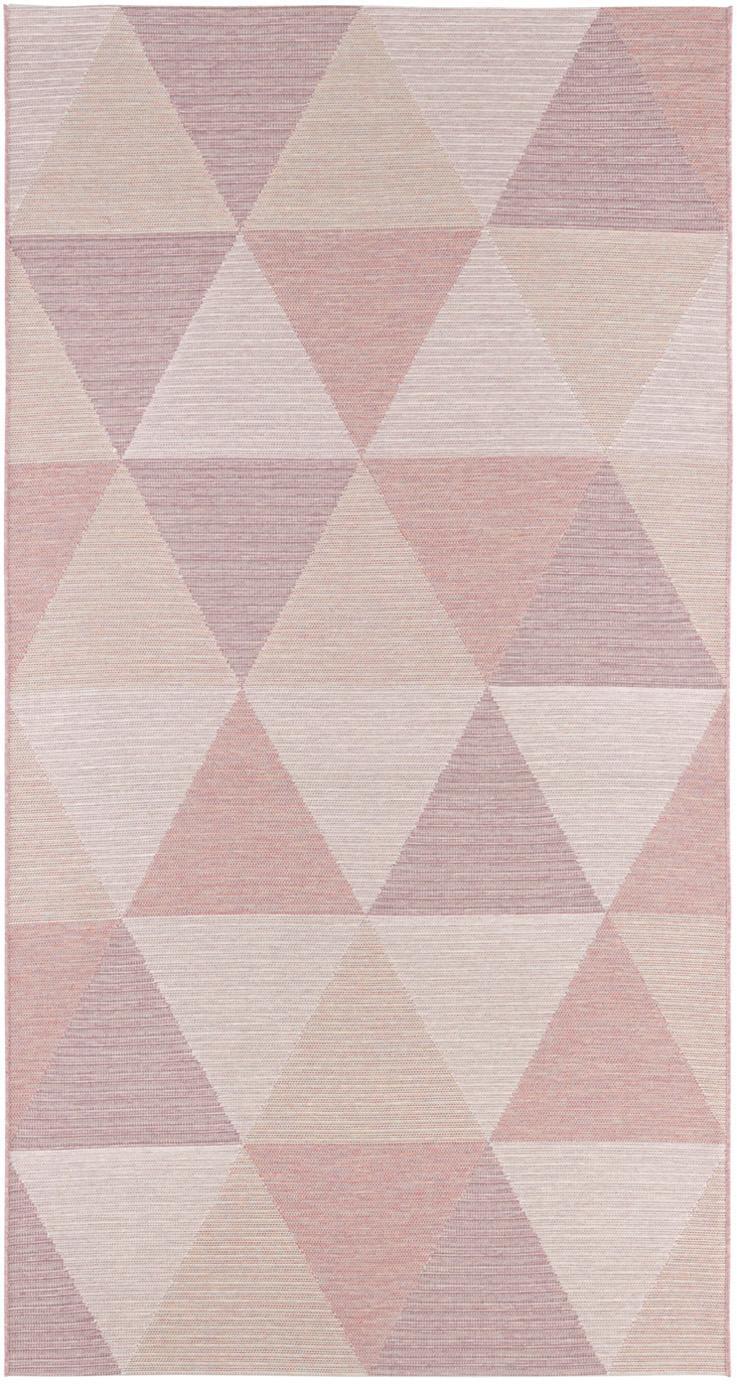 Alfombra de interior/exterior Sevres, 100%polipropileno, Tonos rosas, tonos beige, An 80 x L 150 cm (Tamaño XS)