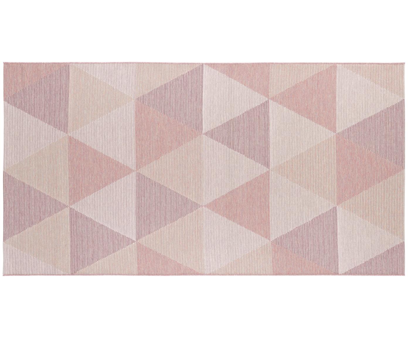 In- en outdoor vloerkleed Sevres in rozetinten, Polypropyleen, Rozetinten, beigetinten, B 80 x L 150 cm (maat XS)