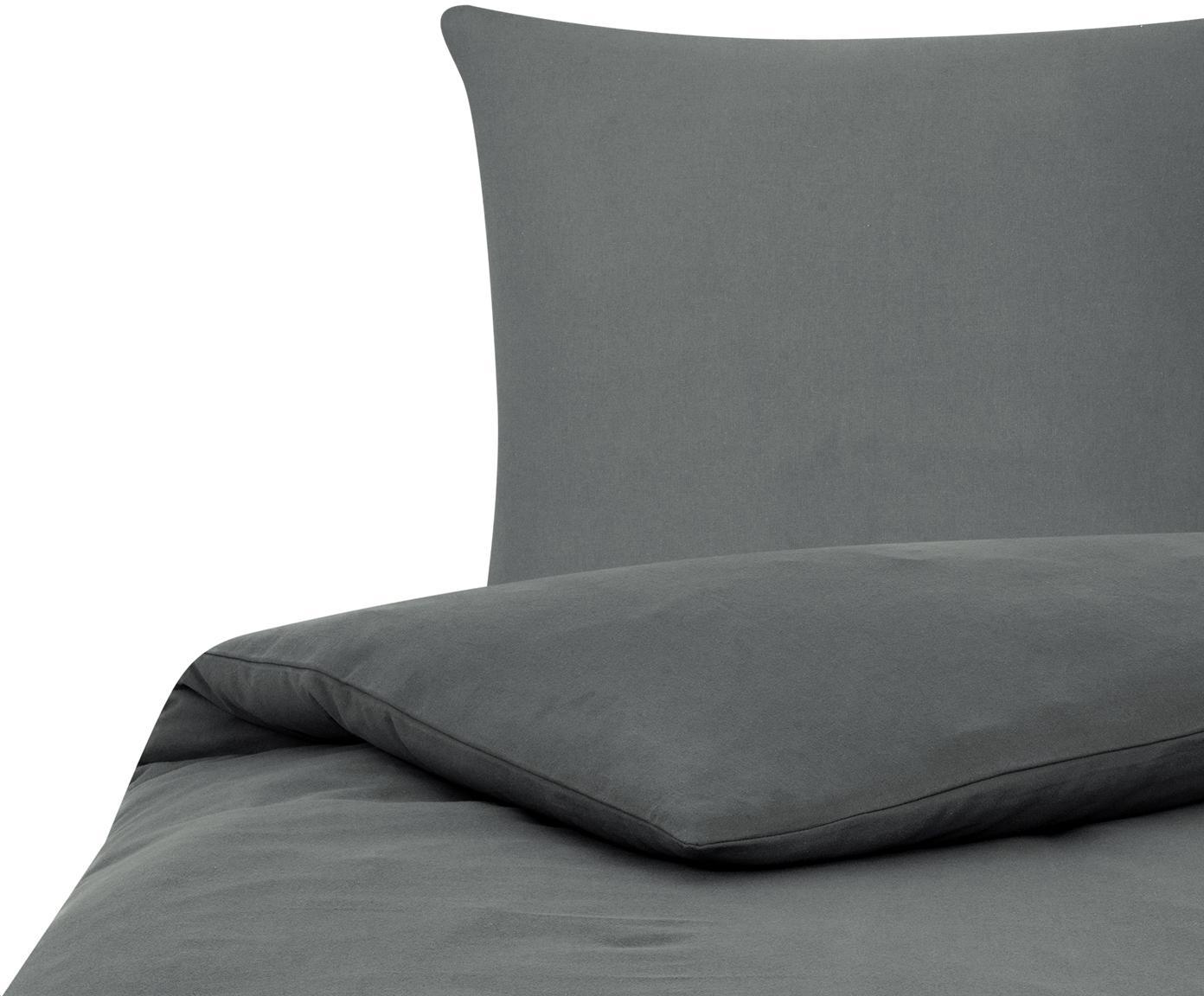 Flanell-Bettwäsche Biba in Dunkelgrau, Webart: Flanell Flanell ist ein s, Dunkelgrau, 135 x 200 cm + 1 Kissen 80 x 80 cm