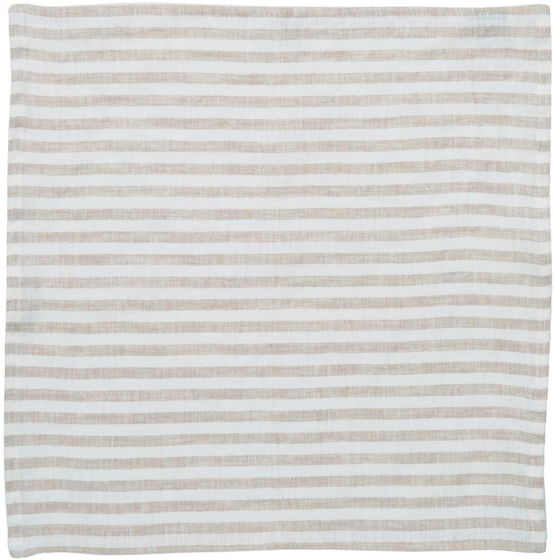 Leinen-Servietten Solami, 6 Stück, Leinen, Beige, Weiss, 46 x 46 cm