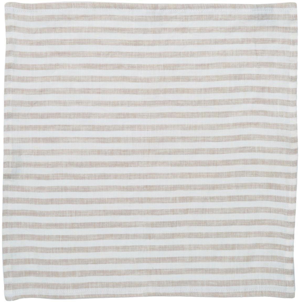 Linnen servetten Solami, 6 stuks, Linnen, Beige, wit, 46 x 46 cm