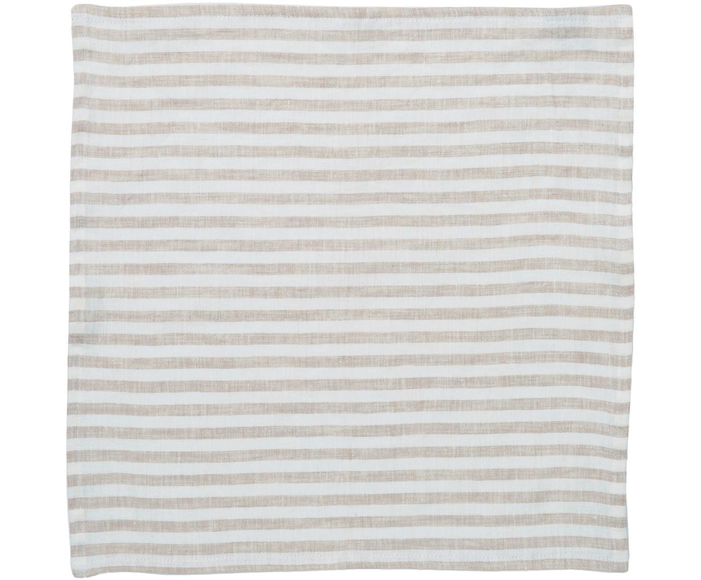 Leinen-Servietten Solami, 6 Stück, Leinen, Beige, Weiß, 46 x 46 cm