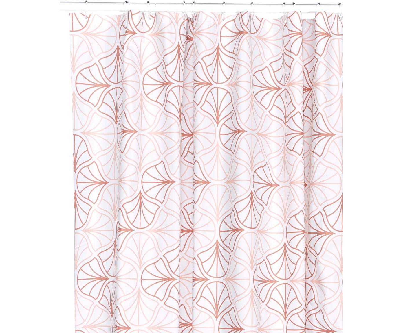 Douchegordijn Bloom met bloemenmotief, Oeko-kunststof (PEVA), vrij van PVC Waterdicht, Rozetinten, wit, 180 x 200 cm