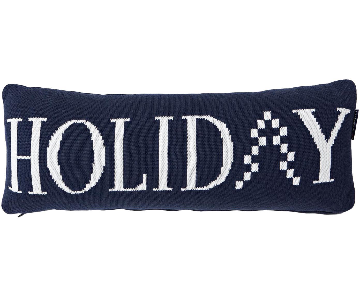 Langes Strick-Kissen Knitted Holiday mit Schriftzug, mit Inlett, Hülle: Baumwolle, Dunkelblau, Weiß, 25 x 70 cm